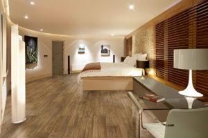 B0NXYM modern bedroom art wood floor red chaise